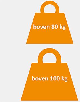 Gewicht boven 80 kg en boven 100 kg