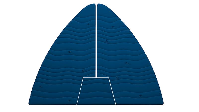 Bootmatras trapeze vorm 3-delig