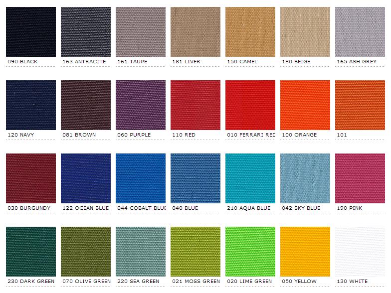 kleurstalen stoffen outdoor lounge matrassen